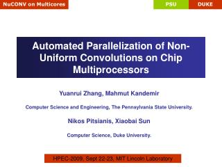 Automated Parallelization of Non-Uniform Convolutions on Chip Multiprocessors