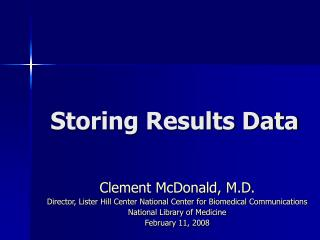 Storing Results Data