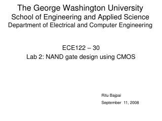 ECE122 – 30 Lab 2: NAND gate design using CMOS