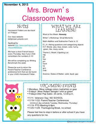Mrs. Brown ' s  Classroom News