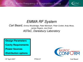 Design Parameters Cavity Requirements Power Sources Distribution options