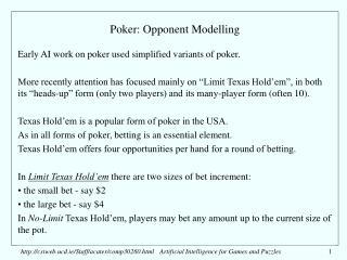 Poker: Opponent Modelling