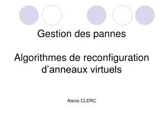 Gestion des pannes Algorithmes de reconfiguration d'anneaux virtuels Alexis CLERC