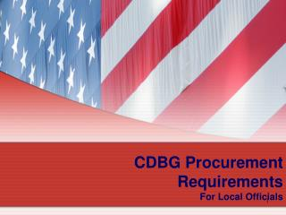 CDBG Procurement Requirements For Local Officials
