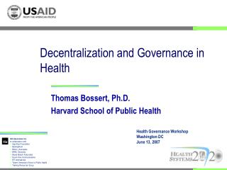 Decentralization and Governance in Health