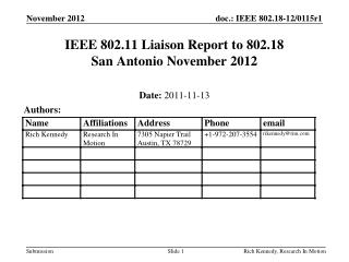 IEEE 802.11 Liaison Report to 802.18 San Antonio November 2012