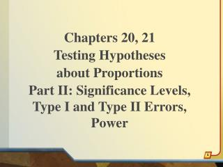 Chapters 20, 21 Testing Hypotheses about Proportions