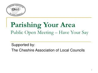 Parishing Your Area Public Open Meeting – Have Your Say