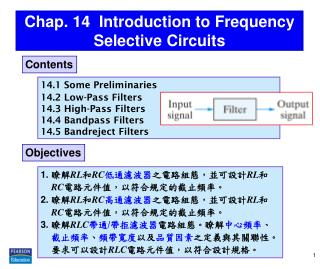 Chap. 14  Introduction to Frequency Selective Circuits