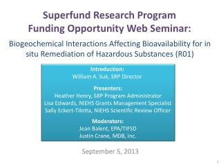 Superfund Research Program  Funding Opportunity Web Seminar: