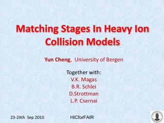 Matching Stages In Heavy Ion Collision Models