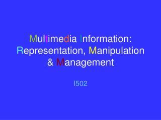 M ul t ime d ia  I nformation:  R epresentation,  M anipulation &  M anagement