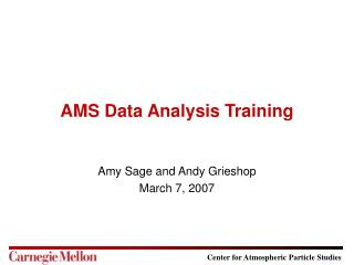 AMS Data Analysis Training