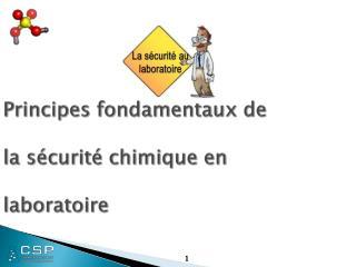 Principes fondamentaux de  la sécurité chimique en  laboratoire
