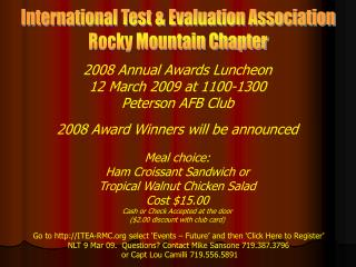 International Test & Evaluation Association Rocky Mountain Chapter