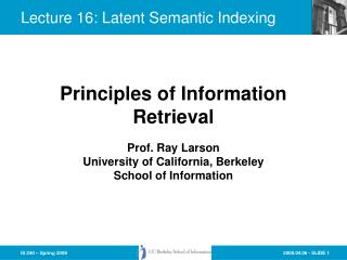 Lecture 16: Latent Semantic Indexing