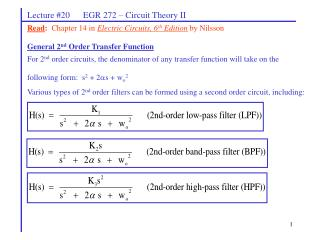 Lecture #20      EGR 272 � Circuit Theory II