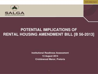 POTENTIAL IMPLICATIONS OF RENTAL HOUSING  AMENDMENT BILL  [B 56-2013]