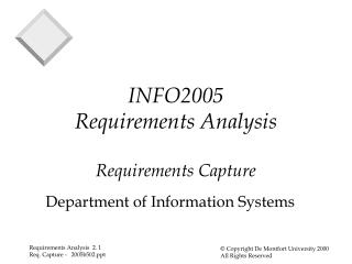 INFO2005 Requirements Analysis Requirements Capture