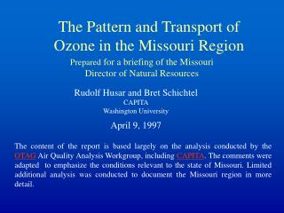 The Pattern and Transport of Ozone in the Missouri Region