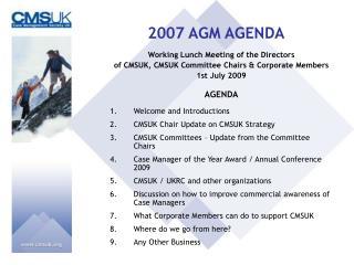 2007 AGM AGENDA