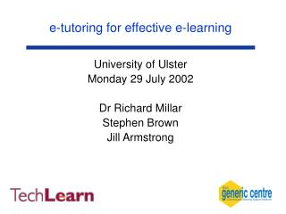 e-tutoring for effective e-learning