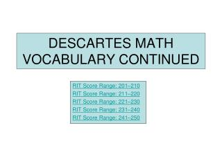 DESCARTES MATH VOCABULARY CONTINUED