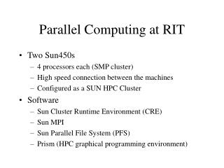 Parallel Computing at RIT