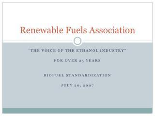 Renewable Fuels Association