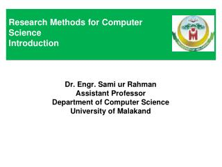 Research Methods for Computer Science Introduction