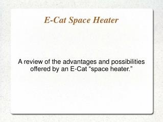 E-Cat Space Heater