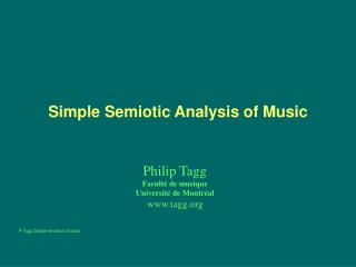 A Simple Semiotics of Music
