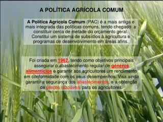 A POLÍTICA AGRÍCOLA COMUM