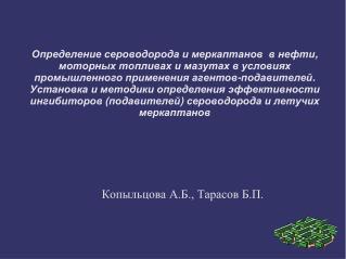 Копыльцова А.Б., Тарасов Б.П.