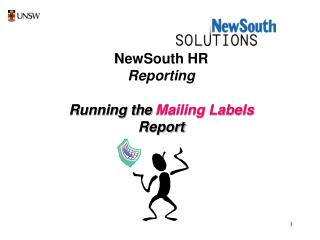NewSouth HR Reporting Running the  Mailing Labels  Report