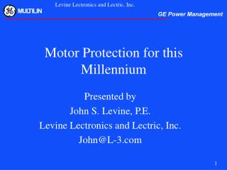 Motor Protection for this Millennium