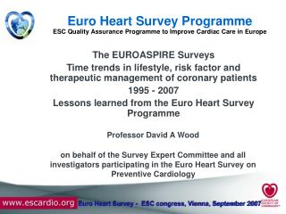 Euro Heart Survey Programme ESC Quality Assurance Programme to Improve Cardiac Care in Europe