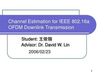 Channel Estimation for IEEE 802.16a OFDM Downlink Transmission