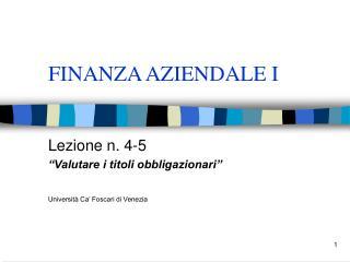 FINANZA AZIENDALE I