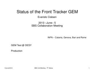 Status of the Front Tracker GEM