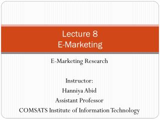 Lecture 8 E-Marketing