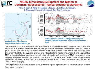 NICAM Simulates Development and Motion of  Dominant Intraseasonal Tropical Weather Disturbance