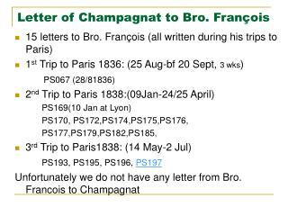 Letter of Champagnat to Bro. François