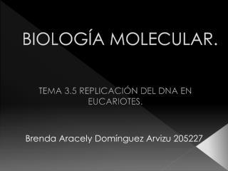 BIOLOGÍA MOLECULAR.