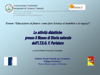 Istituto Tecnico Statale per Geometri  Filippo Parlatore  Piazza Montevergini, 8 Palermo