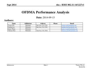 OFDMA Performance Analysis