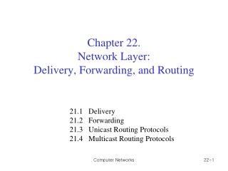 Chapter 2 2.  Network Layer: Delivery, Forwarding, and Routing