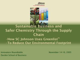 Sustainable Business and Safer Chemistry Through the Supply Chain