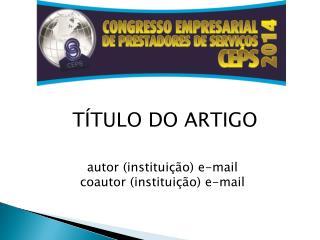 T�TULO DO ARTIGO