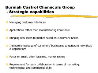Burmah Castrol Chemicals Group  - Strategic capabilities